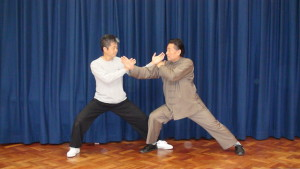 Master Tse doing Tui Shou with his Sifu, Grandmaster Chen Xiao Wang